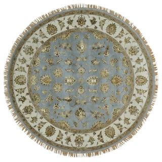 Sky Blue Round Rajasthan Wool and Silk Handmade Oriental Rug (7' x 7')