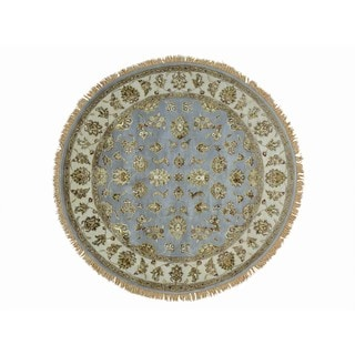 Hand Knotted Sky Blue Round Rajasthan Wool and Silk Rug (6' x 6'1)