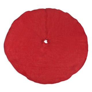 Burlap Red 53-inch Round Hemmed Tree Skirt