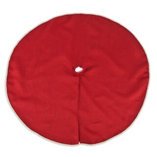 Burlap Red 53-inch Round Saxony Corded Tree Skirt
