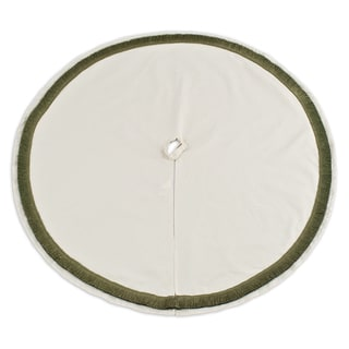 Saxony Tree Skirt 53-inch Round with Leaf Fringe Tree Skirt