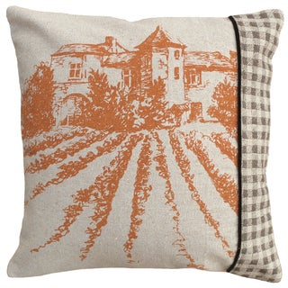 Chateau Hand-printed Linen 18-inch Throw Pillow