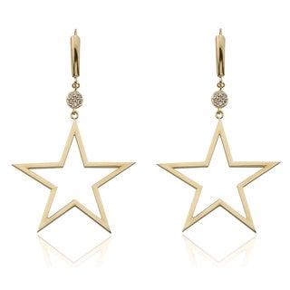 14k Yellow Gold 1/6ct TDW Diamond Dangling Star-shaped Earrings