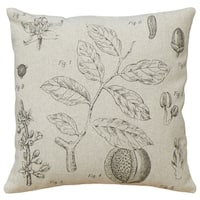 Plant Study Hand-printed Linen 18-inch Throw Pillow