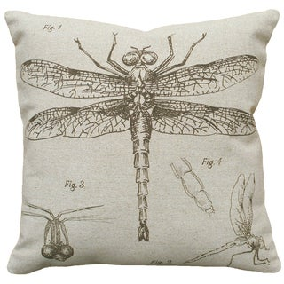 Dragonfly Study Hand-printed Linen 18-inch Throw Pillow
