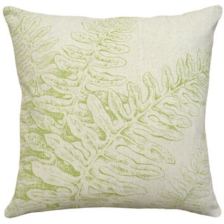 Chartreuse Fern Hand-printed Linen 18-inch Throw Pillow