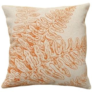Orange Fern Hand-printed Linen 18-inch Throw Pillow