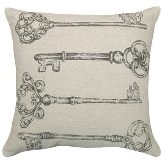 Old Keys Hand-printed Linen 18-inch Throw Pillow