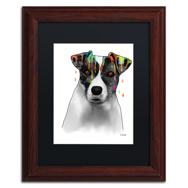 Marlene Watson 'Jack Russel Terrier' Black Matte, Wood Framed Wall Art