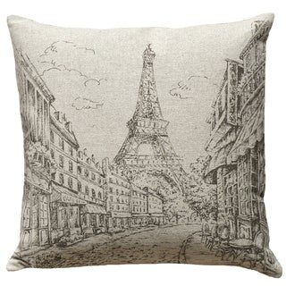 Eiffel Tower Hand-printed Linen 18-inch Throw Pillow