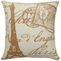 Paris Stamps Hand-printed Linen 18-inch Throw Pillow