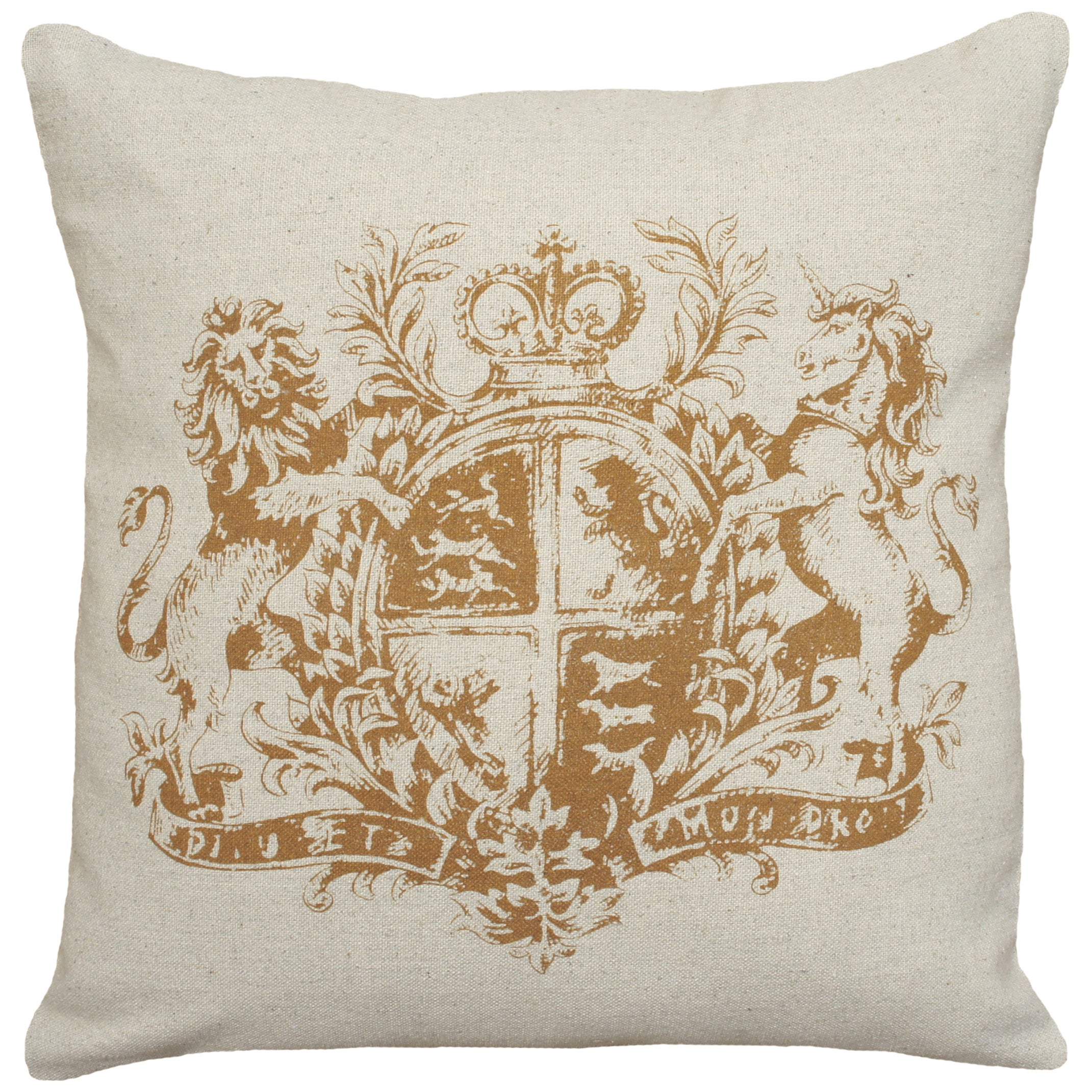 Caramel Royal Crest Hand Printed Linen 18 Inch Throw Pillow On Sale Overstock 10463494
