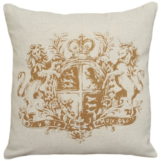 Caramel Royal Crest Hand-printed Linen 18-inch Throw Pillow