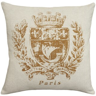 Caramel Paris Crest Hand-printed Linen 18-inch Throw Pillow