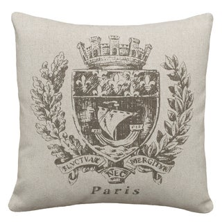 Smoky Gray Paris Crest Hand-printed Linen 18-inch Throw Pillow