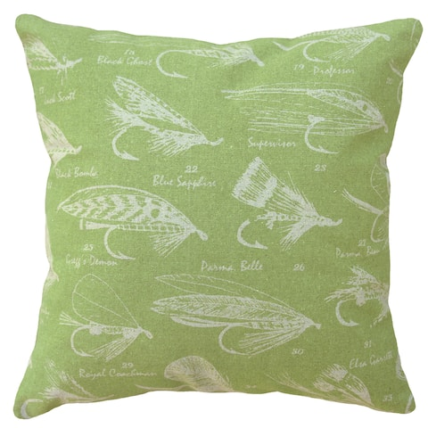 Chartreuse Fly Fishing Hand-printed Linen 20-inch Throw Pillow