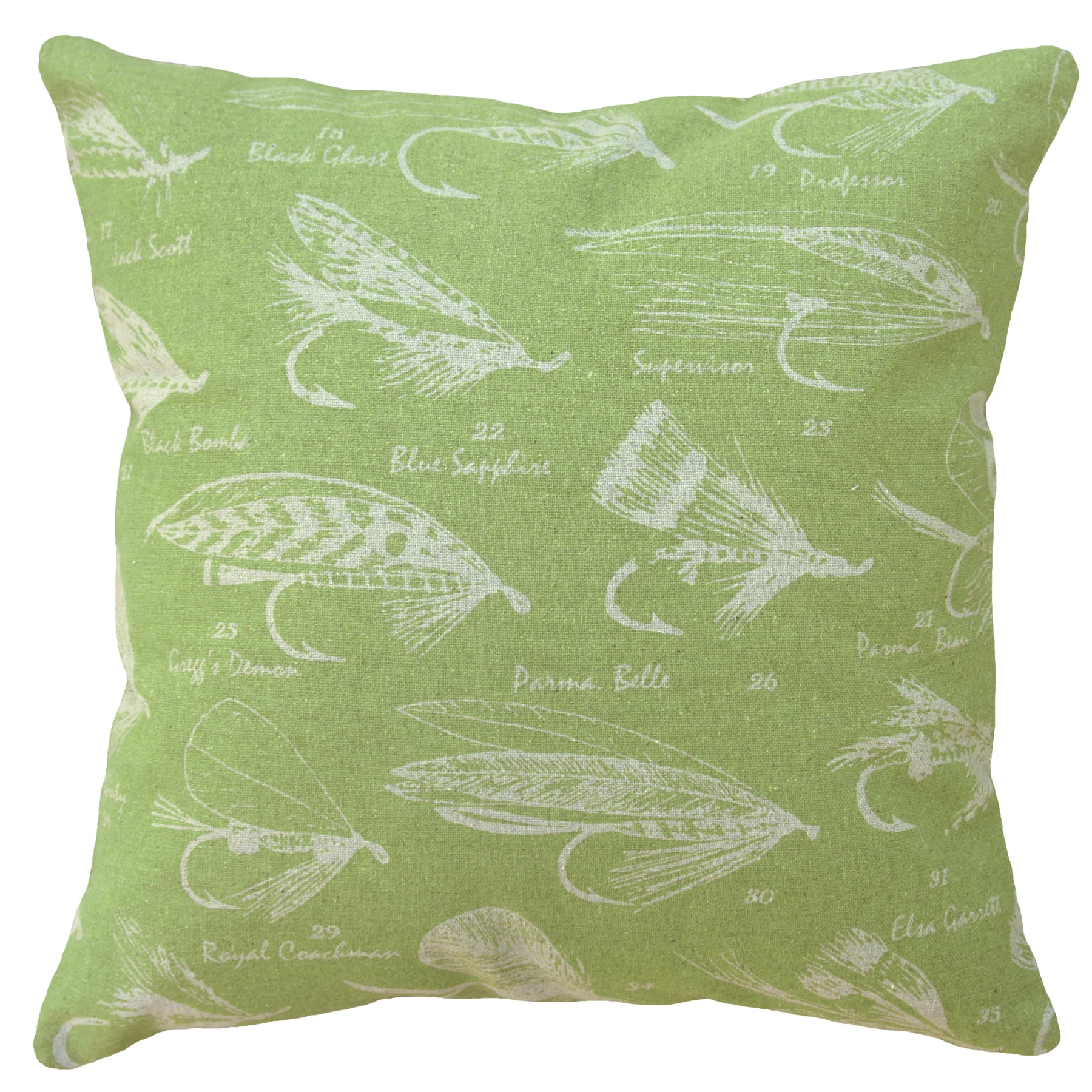 Chartreuse Fly Fishing Hand-printed Linen 20-inch Throw Pillow (Chartreuse)
