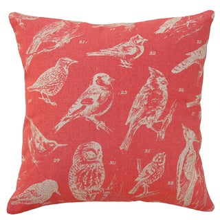 Coral Red Bird Watch Hand-printed Linen 20-inch Throw Pillow