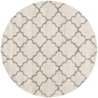 Safavieh Hudson Quatrefoil Shag Ivory/ Grey Rug - 7' Round