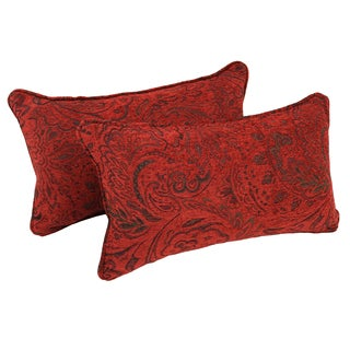 Blazing Needles Corded Scrolled Floral Red Jacquard Chenille Rectangular Throw Pillows (Set of 2)