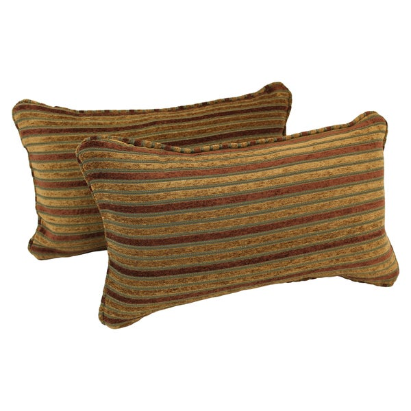 Blazing Needles Corded Autumn Stripes Jacquard Chenille Rectangular Throw Pillows (Set of 2)