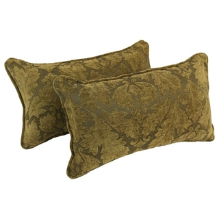 Blazing Needles Corded Floral Beige Damask Jacquard Chenille Rectangular Throw Pillows (Set of 2)