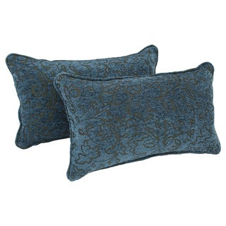 Blazing Needles Corded Blue Floral Jacquard Chenille Rectangular Throw Pillows (Set of 2)