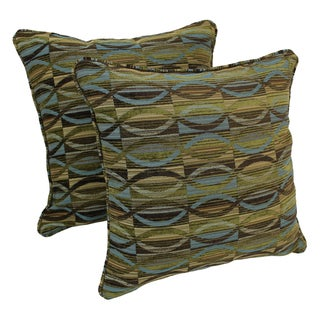 Blazing Needles 18-inch Corded Earthen Waves Jacquard Chenille Throw Pillows (Set of 2)