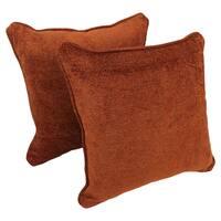 Blazing Needles 18-inch Corded Golden Auburn Damask Jacquard Chenille Throw Pillows (Set of 2)