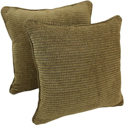 Blazing Needles 18-inch Gingham Brown Chenille Throw Pillow (Set of 2)