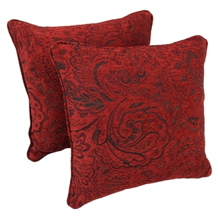 Blazing Needles 18-inch Corded Scrolled Floral Red Jacquard Chenille Throw Pillows (Set of 2)