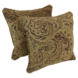Blazing Needles 18-inch Corded Scrolled Floral Tan Jacquard Chenille Throw Pillows (Set of 2)