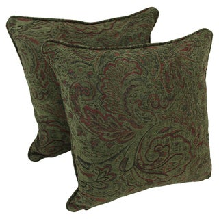 Blazing Needles Corded Floral Green Jacquard Chenille 18-inch Throw Pillows (Set of 2)
