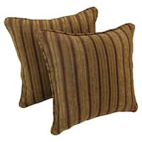 Blazing Needles 18-inch Corded Autumn Stripes Jacquard Chenille Throw Pillows (Set of 2)