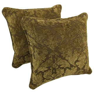 Blazing Needles 18-inch Corded Floral Green Damask Jacquard Chenille Throw Pillows (Set of 2)
