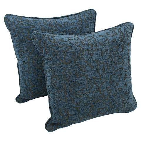 Blazing Needles 18-inch Corded Floral Chenille Throw Pillows (Set of 2)