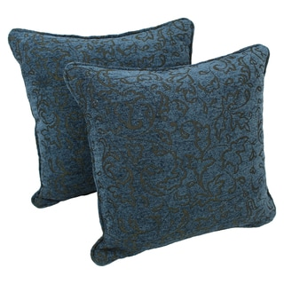 Blazing Needles 18-inch Corded Blue Floral Jacquard Chenille Throw Pillows (Set of 2)