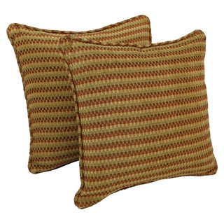 Blazing Needles 18-inch Corded Gingham Jacquard Chenille Throw Pillow (Set of 2)