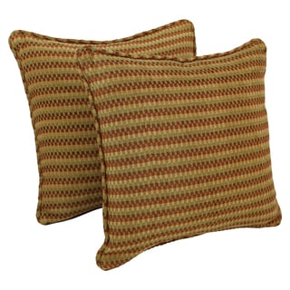 Blazing Needles 18-inch Corded Autumn Gingham Jacquard Chenille Throw Pillows (Set of 2)