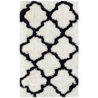 Safavieh Handmade Barcelona Shag White/ Black Trellis Polyester Rug (3' x 5')