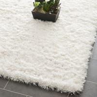 Safavieh Handmade Malibu Shag White Polyester Rug - 3' x 5'