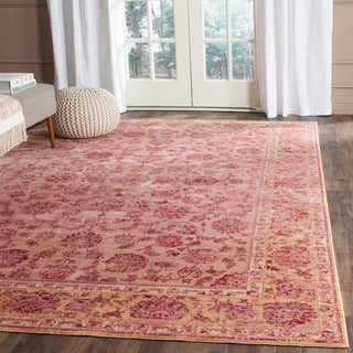 Safavieh Valencia Pink/ Multi Distressed Silky Polyester Rug (5' x 8')
