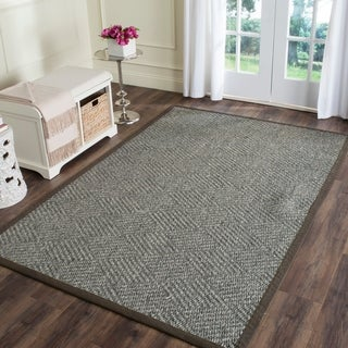 Safavieh Casual Natural Fiber Hand-Woven Grey / Dark Grey Sisal Rug (5' x 8')