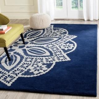 Safavieh Handmade Allure Navy/ Ivory Mandala Wool Rug (5' x 8')