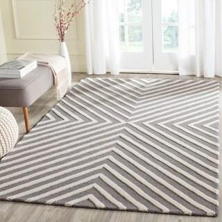 Safavieh Handmade Cambridge Dark Grey/ Ivory Wool Rug (5' x 8')