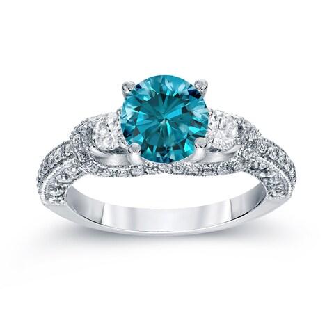 Auriya 14k White Gold 2ct TDW Vintage 3-Stone Blue and White Diamond Engagement Ring