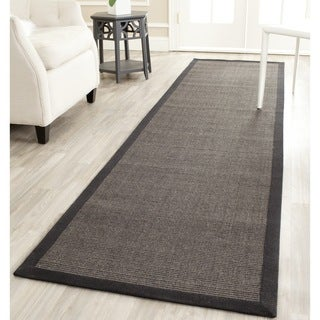 Safavieh Casual Natural Fiber Charcoal and Charcoal Border Sisal Runner Rug - 2' x 6'