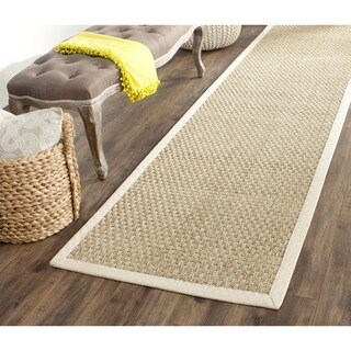 Safavieh Casual Natural Fiber Natural and Ivory Border Seagrass Runner Rug - 2'6 x 22'