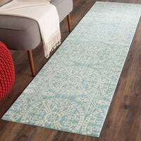 Safavieh Valencia Alpine/ Cream Distressed Silky Polyester Rug - 2'3 x 12'