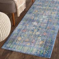 Safavieh Valencia Blue/ Multi Distressed Silky Polyester Rug - 2'3 x 12'
